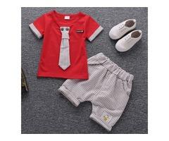Necktie Embellished Short Sleeves Stripe Sets