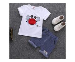 Crab Embellished Short Sleeves Stripe Boys Sets