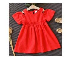 Solid Red  Cold Shoulder Keyhole Back  Flare Dress