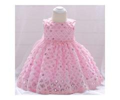 Sequin Round Neck Zipper Back  Princess Dress