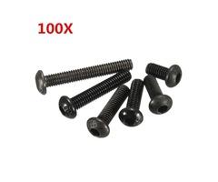Suleve™ M3CH1 M3 Carbon Steel Button Head Hex Socket Cap Screw Bolt Metric Allen bolt 100pcs