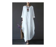 Tidebuy 3/4 Sleeves Loose Boho Dress
