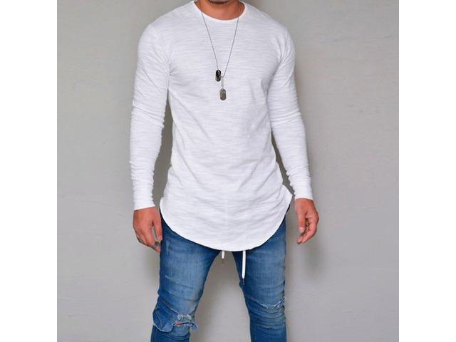 Mens Elastic Cotton Long Sleeve Long Basic Tees | free-classifieds-usa.com