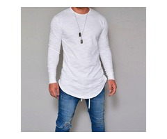 Mens Elastic Cotton Long Sleeve Long Basic Tees