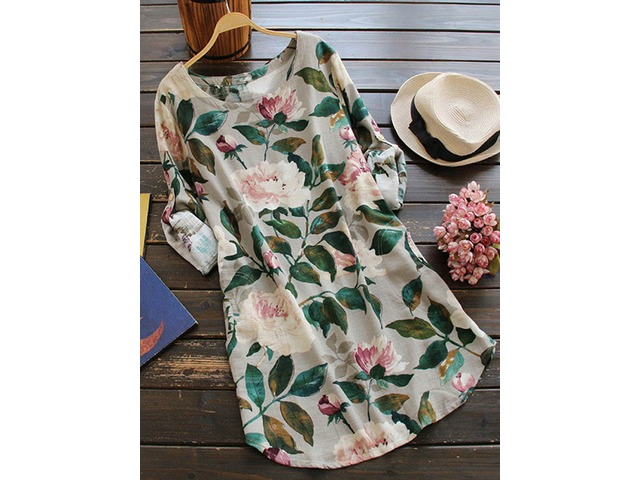 M-5XL Women Floral Print Shirt Mini Dress | free-classifieds-usa.com