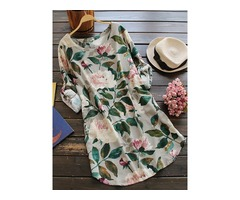 M-5XL Women Floral Print Shirt Mini Dress