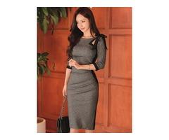 Bowknot 3/4 Length Sleeves Plain Womens Bodycon Dress
