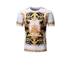 Tidebuy Round Neck Golden Floral Print Mens T-Shirt