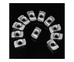 Drillpro 100pcs M5 Hammer Nut Nickel Plated Carbon Steel Aluminum Connector T Fastener Sliding Nut
