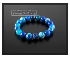 Blue striped agate gemstone bracelet – 10mm natural blue striped agate beads – elastic stretch cord