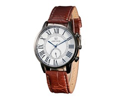 Artificial Leather Band Roman Numerals Design Mens Watch