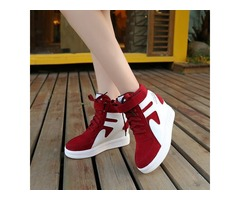 Faux Suede Patchwork Hidden Heel Womens Sneakers