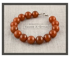 Red carnelian bracelet – 12mm natural carnelian beads – elastic stretch cord or steel wire – persona