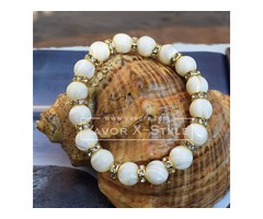 White mother of pearl bracelet and crystal spacer beads – 10mm nacre beads – elastic stretch cord