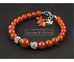 Womens bracelet virgo birthday gift – 12-10-8 mm red carnelian gemstone beads – disco shamballa bead