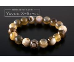 Light brown striped agate gemstone bracelet – 10mm natural light brown striped agate beads