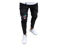 Tidebuy Monkey Print Zipper Mens Black Skinny Jeans