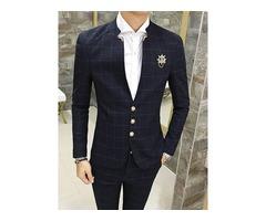 Tidebuy Solid Color Plaid Mens Slim Fit Suit