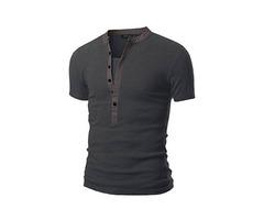 Tidebuy Plain Short Sleeve Mens Casual Slim Shirt