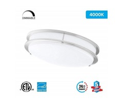 LED Double Ring 12in. Flush Mount - 14 Watt - Dimmable - 4000K - 1100