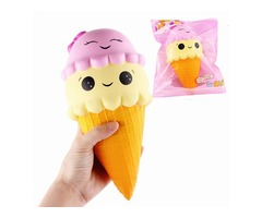 SanQi Elan Squishy Ice Cream Cone Jumbo 22cm Slow Rising With Packaging Collection Gift Soft Toy