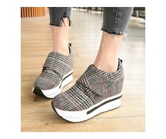 Suede Fabric Plaid Velcro Hidden Heel Womens Sneakers