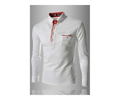 Spread Collar Single-Breasted Polka Dots Mens Shirt