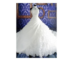 Exquisite Halter Tiered Ruffles Ball Gown Wedding Dress