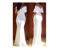 Sheath Off-the-Shoulder Floor-Length Evening Dress