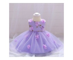 Flower Decorated  Solid Color  Bowknot Back  Tulle Princess Dress