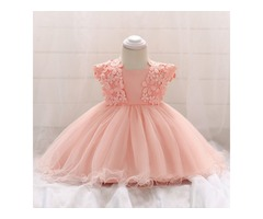 Lace Applique Bowknot Back Solid Color Tulle  Princess Dress