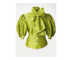 Polka Dot Bow Tie Front Womens Blouse