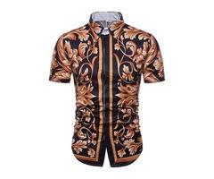 Tidebuy Stylish Floral Mens Short Sleeve Shirt