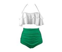 Falbala Plus Size High Waist Tankini Set
