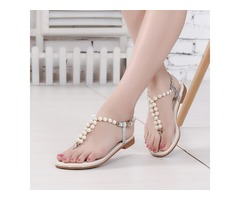 PU Beads Strappy Thong Block Heel Flat Sandals