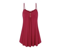 Spaghetti Straps Pleated Loose Womens Tank Top