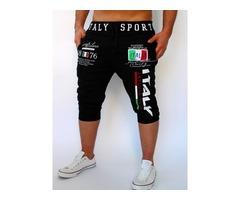 Tidebuy Letter Print Mid-Calf Mens Casual Sports Pants