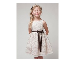 Stylish Lace Belt Designed Girls Dress
