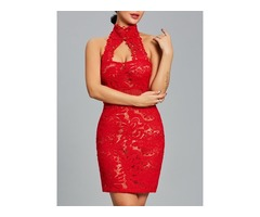 Sexy Turtle Neck Halter Womens Bodycon Lace Dress