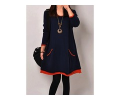 Contrast Color Long Sleeve Shift Dress