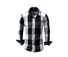 Tidebuy Color Block Plaid Mens Casual Lapel Shirt
