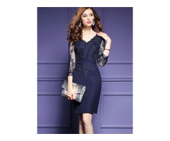 Tidebuy Cotton Blends V-Neck Patchwork Womens Dress | free-classifieds-usa.com