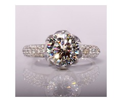 1 CT SONA Diamond-Shaped 925 Sterling Silver Platinum Plated Engagement/Wedding Ring