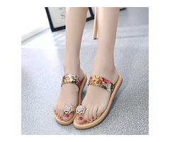 Silk Fabric Floral Print Roe Ring Womens Slide Sandals