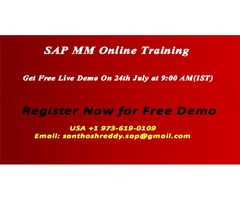 SAP MM Online Training Free Live Demo on 24th July.