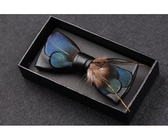 Reduced 12%! Handmade Feather Leather Bow tie