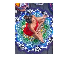 Multicolor Fringed Polygon Beach Blanket