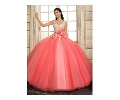 A-Line Straps V-Neck Lace Flowers Quinceanera Dress