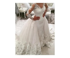 Vintage Appliques Long Sleeve Watteau Train Wedding Dress