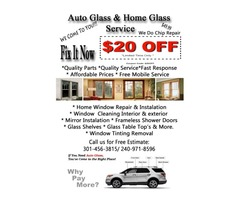 Auto Glass and Home Glass Repair and Replacement in Frederick MD DC VA
